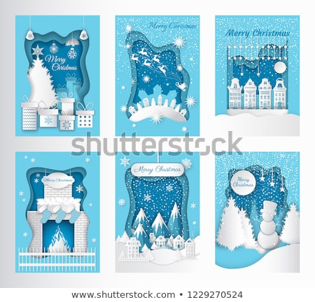 merry christmas postcard paper cut pine fireplace stock photo © robuart