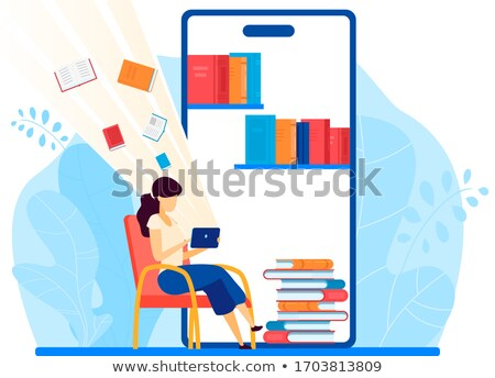 Online Library Woman Reading Books on Pile Web Photo stock © robuart