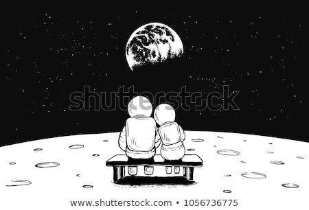 Vector cartoon romantic illustration with astronaut character in Universe.  stock photo © Giraffarte