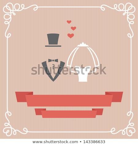 yeni · evliler · gelin · damat · afiş · uzun - stok fotoğraf © robuart