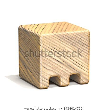 Solid wooden cube font Letter M 3D Stock photo © djmilic