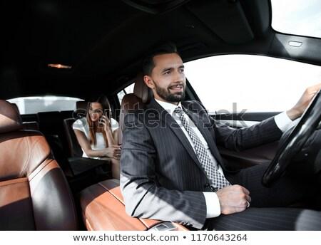Portret glimlachend mannelijke chauffeur rijden auto Stockfoto © AndreyPopov