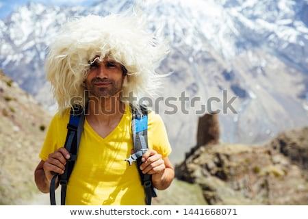 Természetjáró hagyományos szőr kalap kilátás fiatal Stock fotó © boggy