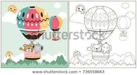 medvék · betűk · csoport · kifestőkönyv · rajz · illusztráció - stock fotó © izakowski