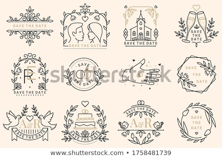 wedding invitation card thin line vector icon stock photo © pikepicture
