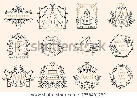 Düğün davetiyesi kart ince hat vektör ikon Stok fotoğraf © pikepicture