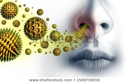 virágpor · allergia · fiatal · nő · allergiás · visel · maszk - stock fotó © lightsource