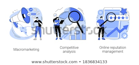 Marketing specialist luidspreker beïnvloeden zakenlieden wereldbol Stockfoto © RAStudio
