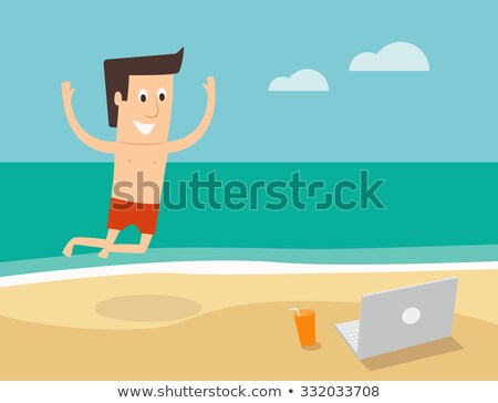 Man Working on Laptop, Distant Worker Traveling Stock photo © robuart