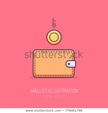 Stock photo: Money wallet with dropping coins, flat design
