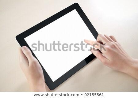 Modern atingeţi om blocnotes ecran Imagine de stoc © Suriyaphoto