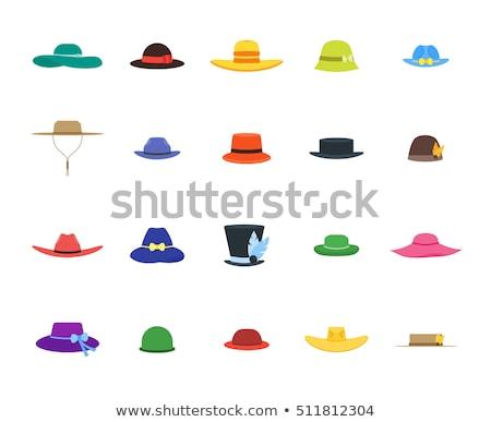 Cartoon derby chapeau illustration souriant drôle Photo stock © bennerdesign