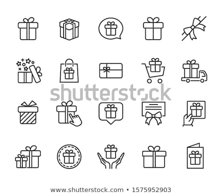 gift certificate with bow icon vector outline illustration stock photo © pikepicture