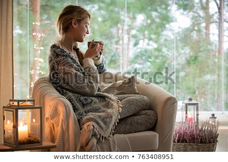 Beautiful woman in home clothes is drinking hot coffee from a mug to the will of a bright window. Stock photo © ElenaBatkova