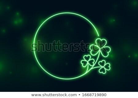 Koniczyna pozostawia neon ramki tekst przestrzeni Zdjęcia stock © SArts