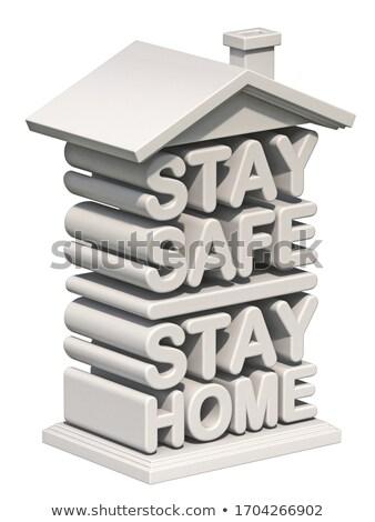 Szöveg tartózkodás széf otthon forma ház Stock fotó © djmilic