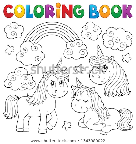 Coloring book unicorn head theme 1 Stock photo © clairev