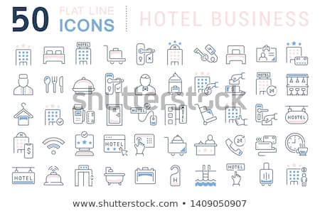 hotel room service icon set Stock photo © ayaxmr