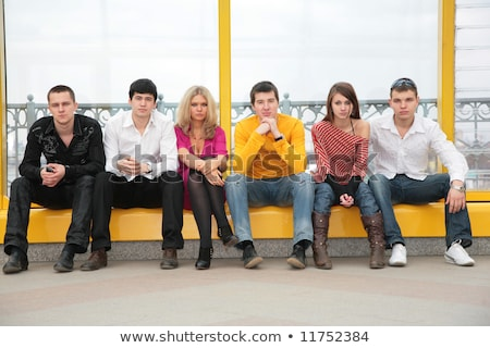 six young persons sit on footbridge Stock photo © Paha_L