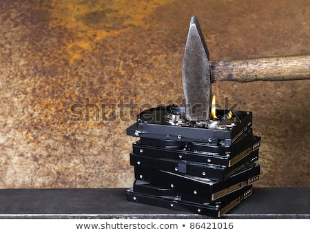 kalapács · égő · szimbolikus · adat · rombolás · mutat - stock fotó © prill
