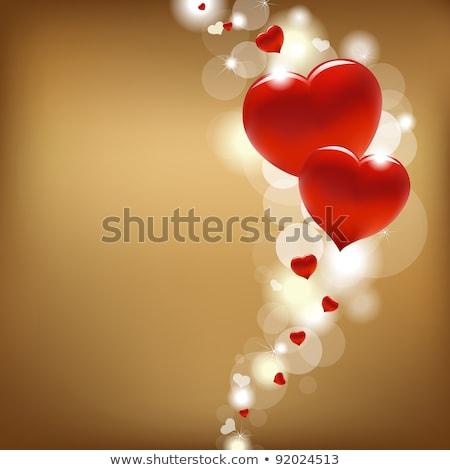 Carta amore due cuori oro turchese Foto d'archivio © marimorena