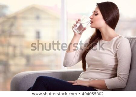 Güzel esmer kadın cam su pencere Stok fotoğraf © pekour