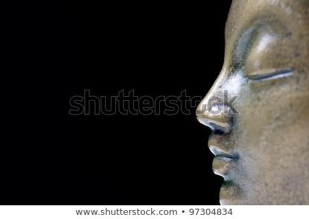 бронзовый Будду изолированный профиль черный искусства Сток-фото © Bananna
