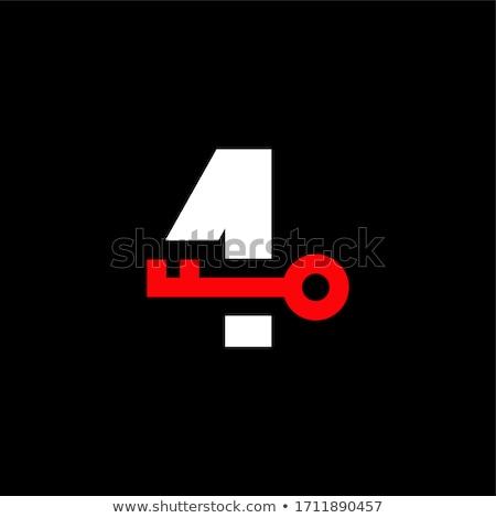 Négy azonos kulcsok zár fehér lakás Stock fotó © Traven