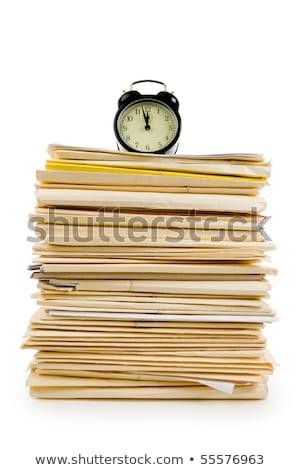 ストックフォト: ファイル · スタック · クロック · 白