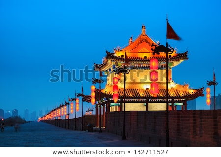 Night scenes of the famous city wall of Xian Stock photo © bbbar