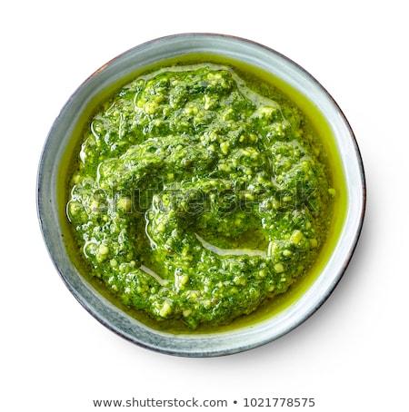 yalıtılmış · pesto · sos · yeşil · yağ · sebze - stok fotoğraf © M-studio