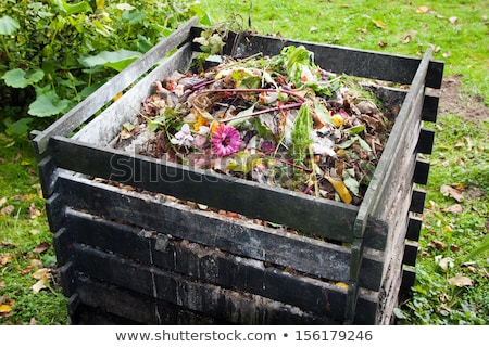 Organic compost heap with wooden pallet frame