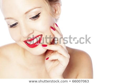 beautiful woman with bright makeup and red nails retro style v stock photo © victoria_andreas