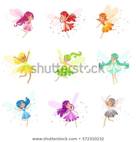 Blauw fairy vliegen bos milieu vrouwelijke Stockfoto © koqcreative