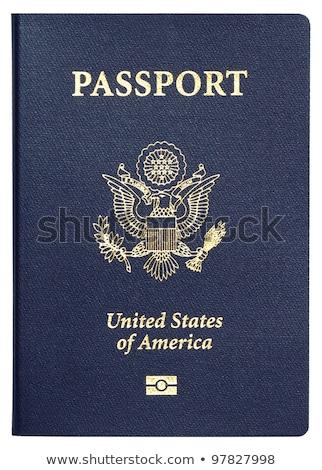 Stock fotó: útlevél · fehér · bent · oldalak · bélyegek · kút