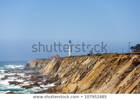 Stock fotó: Híres · pont · aréna · világítótorony · reggel · köd
