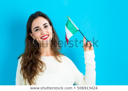 Mulher jovem bandeira italiana mulher céu menina Foto stock © photography33