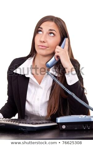 деловая женщина скучный вызова служба бизнеса компьютер Сток-фото © dacasdo