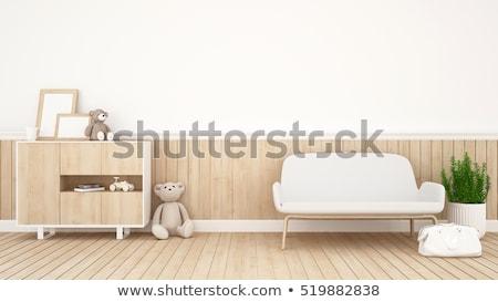 Wonen pop lang slank vrouw Blauw Stockfoto © disorderly