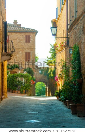 narrow street pienza stock photo © w20er