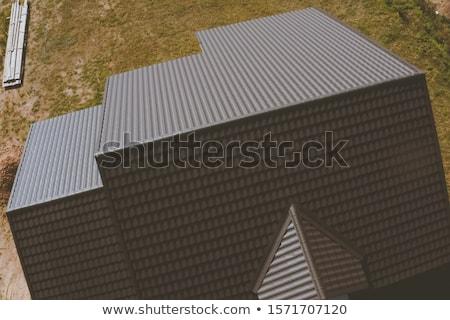 ストックフォト: 家 · 屋根 · パターン · 青空 · 空