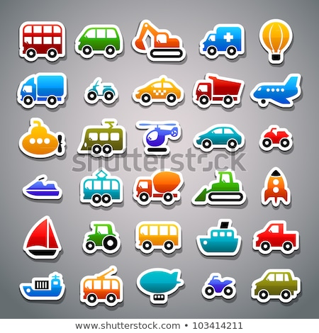 Stock photo: Transport icons set colored stickers