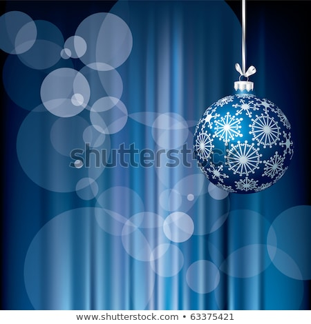 christmas ball on abstract blue lights eps 10 stock photo © beholdereye