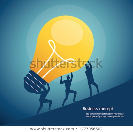 Foto stock: Person Carry Lightbulb Of The Puzzle
