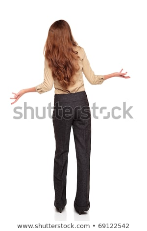 Disbelief - Caucasian woman looking up with arms raised Stock photo © dgilder