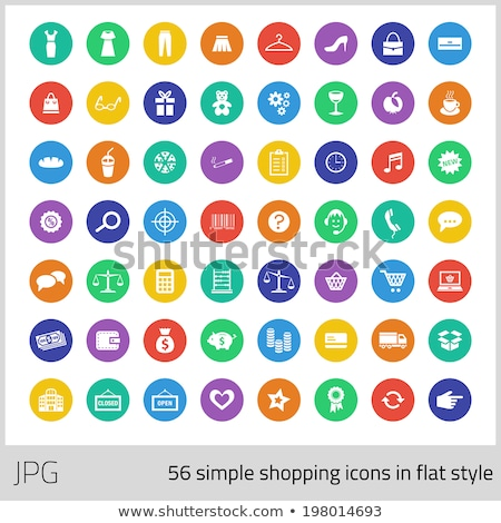 Simples compras ícones estilo conjunto café Foto stock © liliwhite