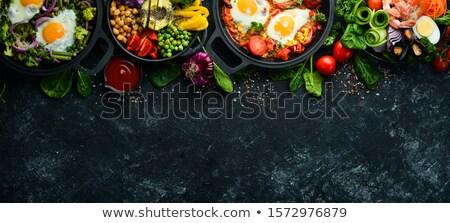 ázsiai konyha hús ázsiai rizs étel tál Stock fotó © M-studio