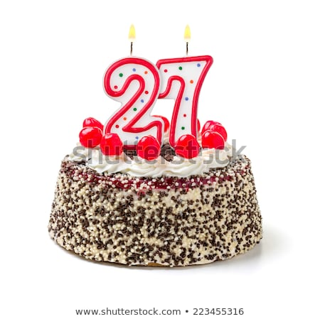 Birthday cake with burning candle number 27 Stock photo © Zerbor