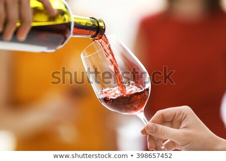 dronken · vrouw · rode · wijn · fles · jonge · drinken - stockfoto © cwzahner
