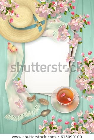 Stock fotó: üveg · teáscsésze · cseresznyevirágzás · tea · felszolgált · rusztikus